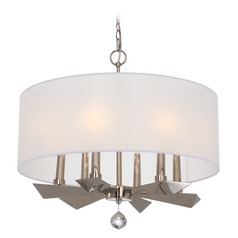 Crystorama Lighting Palmer Polished Nickel Pendant Light with Drum Shade