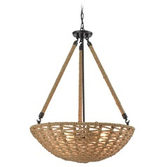 Elk Lighting Weaverton Oil Rubbed Bronze Pendant Light with Bowl / Dome Shade