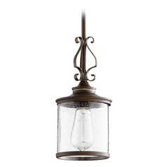 Quorum Lighting San Miguel Vintage Copper Mini-Pendant Light with Cylindrical Shade