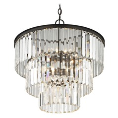 Three Tiered Crystal Chandelier Bronze