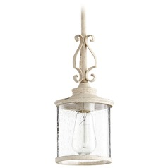 Seeded Glass Mini-Pendant Light White Quorum Lighting