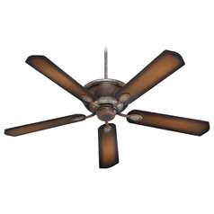 Quorum Lighting Kingsley Mystic Silver with Pecan Ceiling Fan Without Light