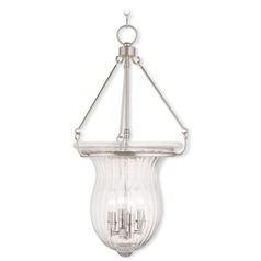 Livex Lighting Andover Brushed Nickel Pendant Light with Fluted Shade