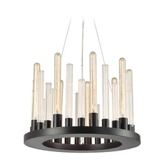 Elk Lighting Glass Skyline Oil Rubbed Bronze Mini-Chandelier