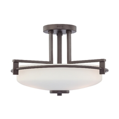 Modern Semi-Flushmount Light with White Glass in Western Bronze Finish