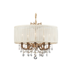 Crystal Mini-Chandelier with White Shade in Aged Brass Finish