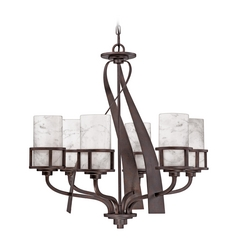 Bronze Chandelier Light with White Onyx Shades in Iron Finish