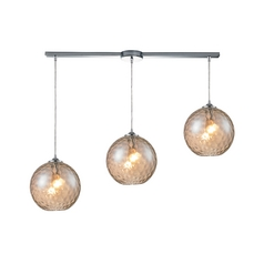 Elk Lighting HGTV Multi-Light Pendant with Amber Glass - Three Lights 31380/3L-cmp