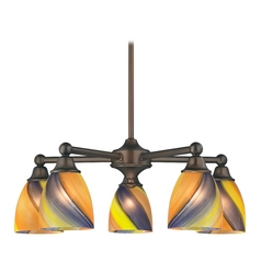 Chandelier with Art Glass in Neuvelle Bronze Finish
