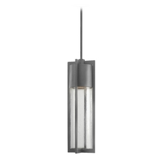Modern Outdoor Hanging Light with Clear Glass in Hematite Finish
