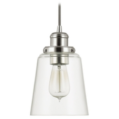 Capital Lighting Polished Nickel Mini-Pendant Light with Empire Shade