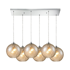 Elk Lighting Modern Multi-Light Pendant Light with Beige / Cream Glass and 6-Lights 31380/6rc-cmp