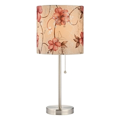 Design Classics Lighting Pull-Chain Drum Table Lamp with Floral Rose Shade 1900-09 SH9510