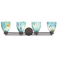 Modern Bathroom Light with Turquoise Art Glass - Four Lights