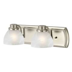 Alabaster Glass 2-Light Bath Bar in Satin Nickel