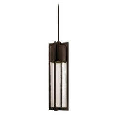 Modern Outdoor Hanging Light with Clear Glass in Buckeye Bronze Finish