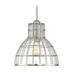 Satin Nickel Pendant Light with Bowl / Dome Shade Grant Collection by Savoy House