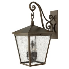 Bronze LED Seeded Glass Outdoor Wall Light by Hinkley Lighting