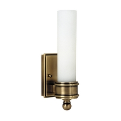 Sconce Wall Light with White Glass in Antique Brass Finish