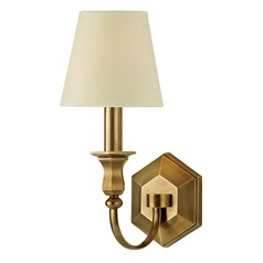 Sconce Wall Light with Beige / Cream Paper Shade in Aged Brass Finish