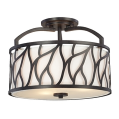 Semi-Flushmount Light with White Cage Shades in Artisan Finish