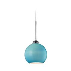 Mini-Pendant Light with Blue Glass Shade