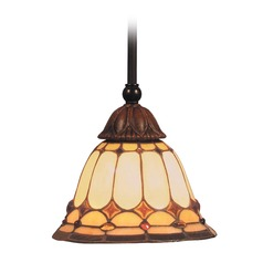 Elk Lighting Diamond Ring Burnished Copper LED Mini-Pendant Light with Bell Shade