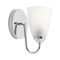 Progress Lighting Progress Sconce Wall Light with White Glass in Polished Chrome Finish P2706-15