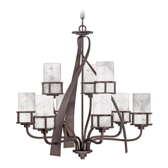 Quoizel 2-Tier 8-Light Chandelier With White Onyx Cylinder Shades in Iron Gate