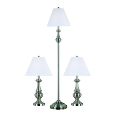 Table and Floor Lamp Set with White Shade in Brushed Steel Finish