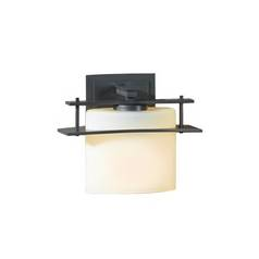 Hubbardton Forge Lighting Sconce Wall Light with Alabaster Glass in Burnished Steel Finish 207521-08-G182