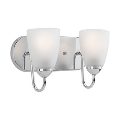 Progress Lighting Progress Bathroom Light with White Glass in Polished Chrome Finish P2707-15