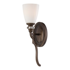 Sconce Wall Light with White Glass in Dark Noble Bronze Finish