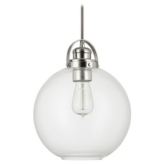Capital Lighting Polished Nickel Pendant Light with Globe Shade