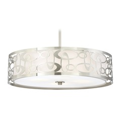 George Kovacs Links Brushed Nickel Pendant Light with Drum Shade