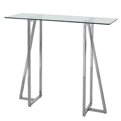 Kenroy Home Calder Polished Stainless Sofa Table