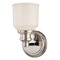 Sconce with White Glass in Polished Nickel Finish