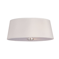 Flushmount Light with White Shade in Polished Nickel Finish
