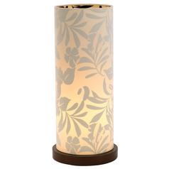Modern Accent Lamp with Beige / Cream Shade in Walnut Finish