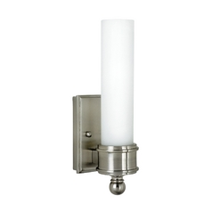Switched Sconce Wall Light with White Glass in Satin Nickel Finish