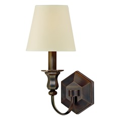 Sconce Wall Light with Beige / Cream Paper Shade in Old Bronze Finish
