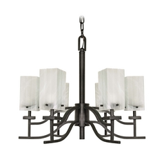 Modern Chandelier with Alabaster Glass in Textured Black Finish