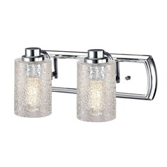 Industrial Textured Glass 2-Light Vanity Light in Chrome
