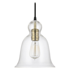 Capital Lighting Aged Brass Mini-Pendant Light with Bell Shade