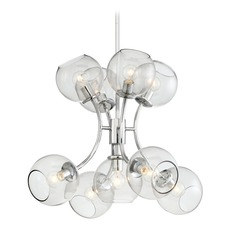 Mid-Century Modern Chandelier Chrome with Clear Globe by George Kovacs