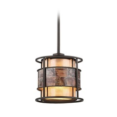 Elk Lighting Tremont Tiffany Bronze Mini-Pendant Light with Cylindrical Shade