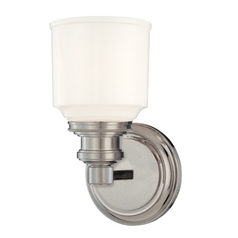 Sconce with White Glass in Satin Nickel Finish