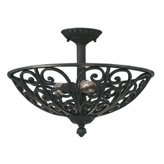 Semi-Flushmount Light in Natural Iron Finish
