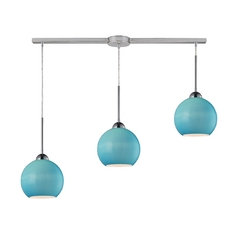 Linear Multi-Pendant Light with Blue Shades