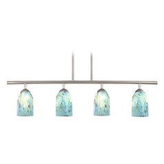 4-Light Linear Pendant Light with Turquoise Art Glass in Satin Nickel Finish